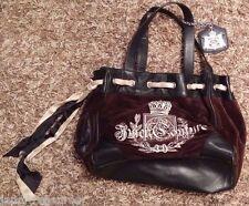 Juicy Couture Daydreamer Black Velour Leather Tote Bag Handbag Purse Satchel