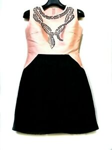Peach-Coral-and-black-Colorblock-Dress