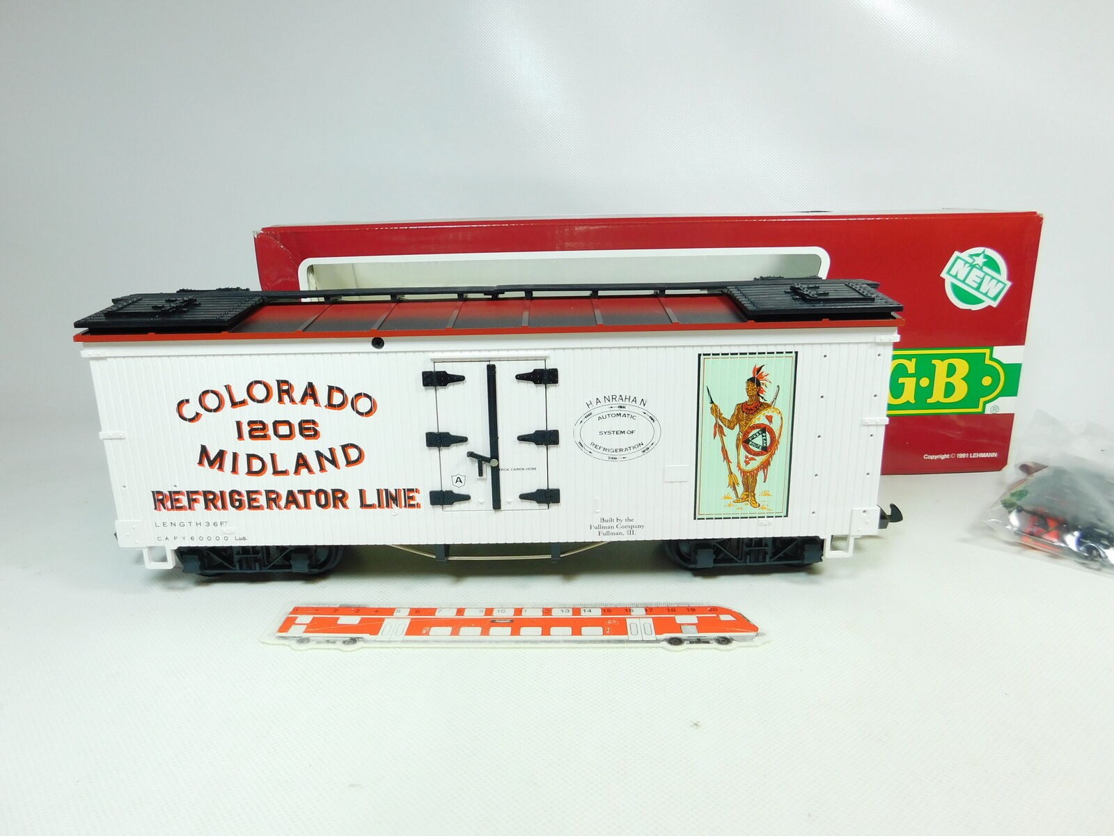 Br139-3 LGB Escala G   Iim   Dc 4072-P 01 Box Car colorado 1206 Midland,Nuevo