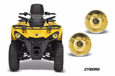 AMR Racing Head Light Eyes Can-Am Outlander-L ATV Headlight Graphics CYBORG YLW