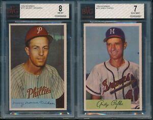 1954-Bowman-Baseball-Lot-of-2-Cards-Dickson-111-BVG-8-Pafko-112-BVG-7