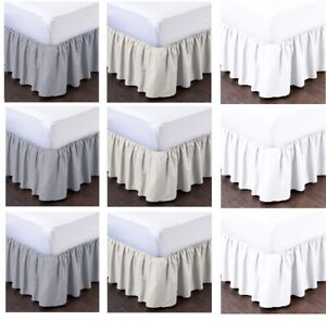 Ruffle Bed Skirts Split Corner Gathered Style Easy Fit Ivory Queen//King All Size