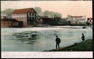 JEFFERSON-WI-Woolen-Mills-Dam-Antique-Wisconsin-Postcard-Early-Old-Vtg-Litho-PC