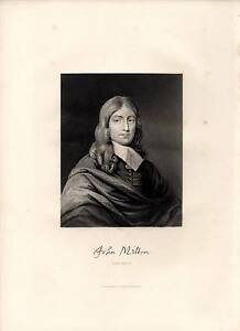 1877 Aufdruck ~ Porträt John Milton & Signatur Poet