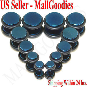 V118-Blue-Fake-Cheaters-Illusion-Faux-16G-Ear-Plugs-4G-2G-0G-00G-7-16-1-2-034-Steel