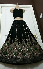 Ladies Indian Boho Hippie Gypsy Long Sequin Skirt Rayon in Black & Green inset