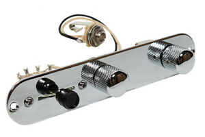 Loaded-Control-Plate-CHROME-W-Push-Pull-Series-Parall-for-USA-Fender-Tele-Guitar