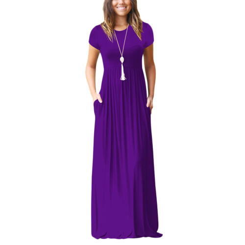 Women Maxi Dress Loose Swing Plain Casual Cocktail Party Ball Gown with Pockets