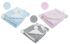 Baby Boys Girls Spanish Style Warm Sherpa Stars /& Pom Pom Blanket Blue Grey Pink