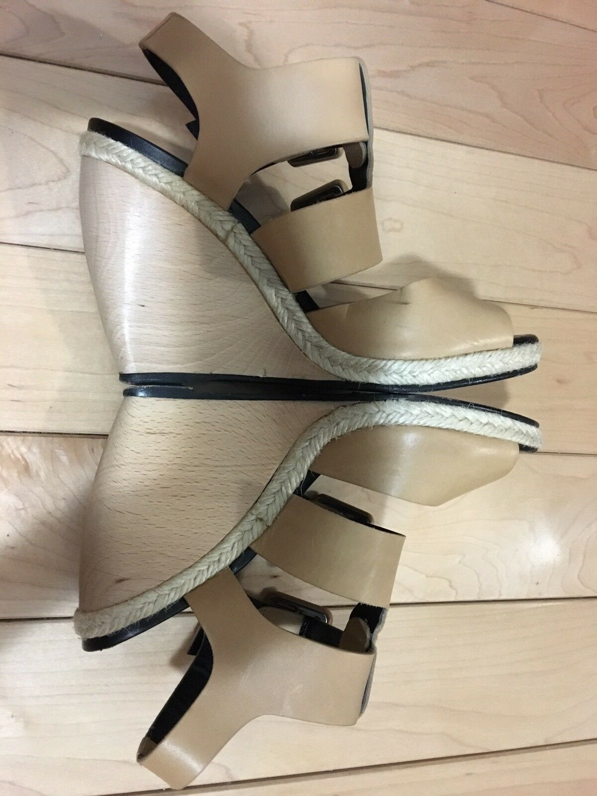 Pierre Hardy Hardy Hardy Beige Tan Leather Cage Strappy Buckles Rope Trim Wedge Sandals 37 ed2c23