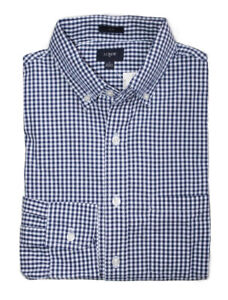 J-Crew-Factory-Mens-M-Slim-Fit-Navy-Blue-Micro-Gingham-Washed-Cotton-Shirt
