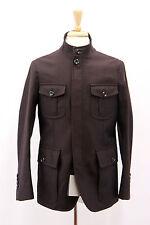 NWT Tom Ford Men 100%Wool Wine Herringbone Jacket W/100% Leather Details 48/38US