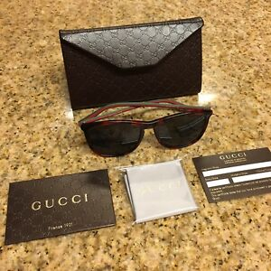 6271cacd46 Gucci Sunglasses Red Green Thin Frame Logo Black Lens Unisex  350 ...