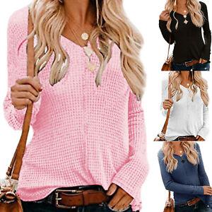 Damen Pullover V-Ausschnitt Langarm pulli Strickpullover Sweatshirt Sweater Mode