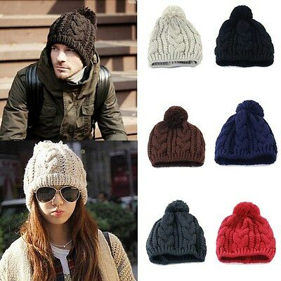 New Fashion Winter Warm Women Men Knit Ski Beanie Ball Wool Cuff Hat Ski Cap