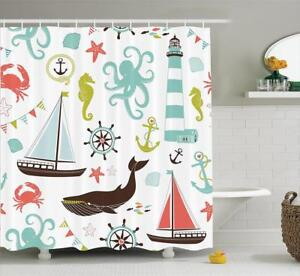 Image Is Loading Shower Curtain Beach Nautical Lighthouse Sailboat Whale Bathroom