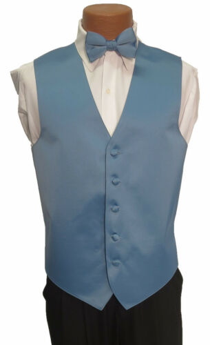 2XL Mens Light Cornflower Blue Zelente Wedding Prom Fullback Tuxedo Vest w// Tie