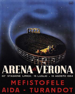 POSTER ARENA VERONA ROMAN AMPHITHEATRE OPERA MUSIC ITALY VINTAGE REPRO FREE S//H