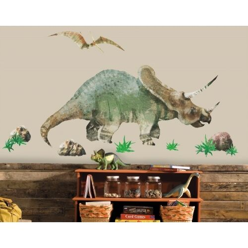 TRICERATOPS & PTERODACTYL Mural Wall Stickers Decals - Removable Vinyl Appliques