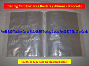 Trading-Card-Folders-Binders-Albums-9-Pockets-Pages-18-24-28-amp-32-Page