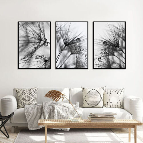 Set of 3 Abstract Wall Art Prints Living Room Bedroom Black /& White Posters A3