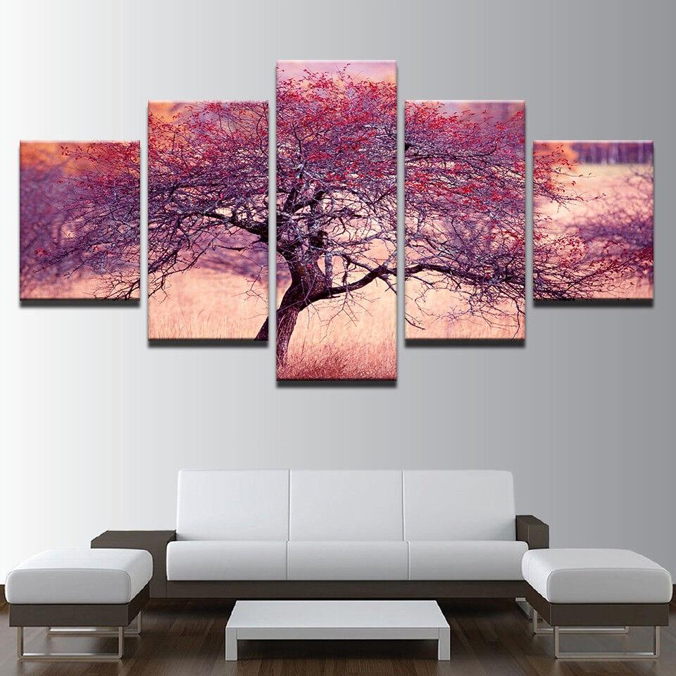 Abstract lila rot Tree 5 Panel Canvas Print Wall Art