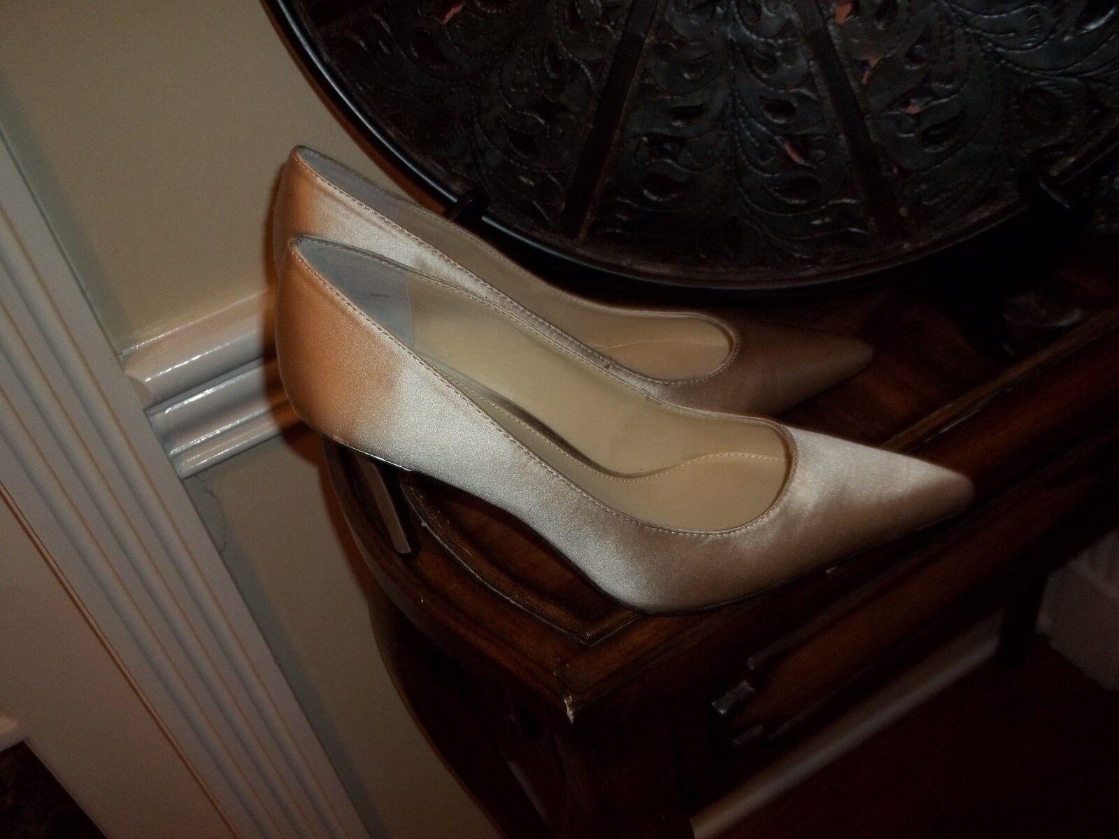 New Ralph Ralph Ralph Lauren Sarina Champagne Satin High Heel shoes 10M da1cfe