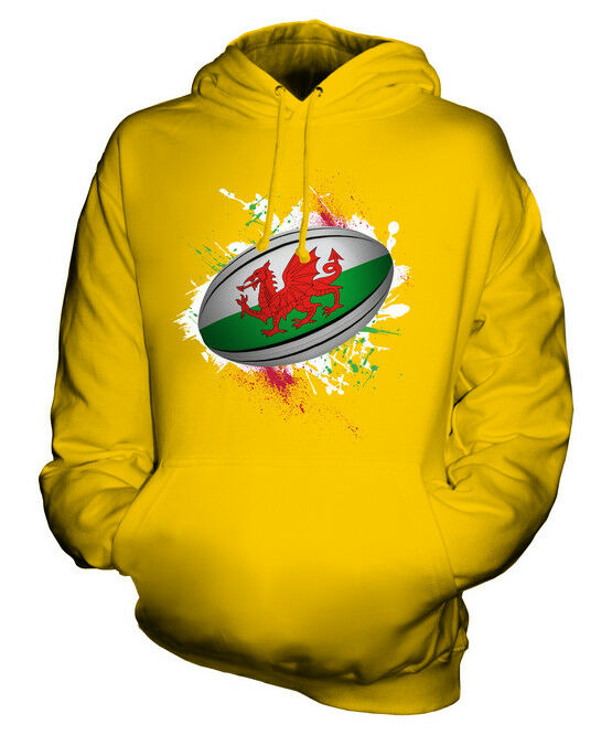 WALES RUGBY BALL SPLATTER UNISEX HOODIE TOP GIFT WORLD CUP SPORT