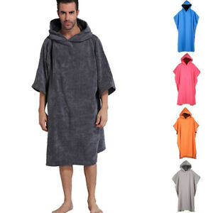 Men s Adult Changing Robe Towel Bath Hooded Beach Towel Poncho ... e66dc1450
