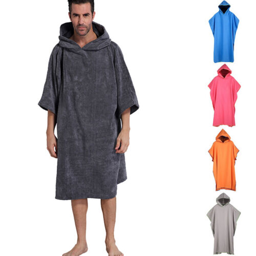 Mens Loose Cosy Robe Towel Bath Hooded Beach Towel Poncho Bathrobe Towel 34
