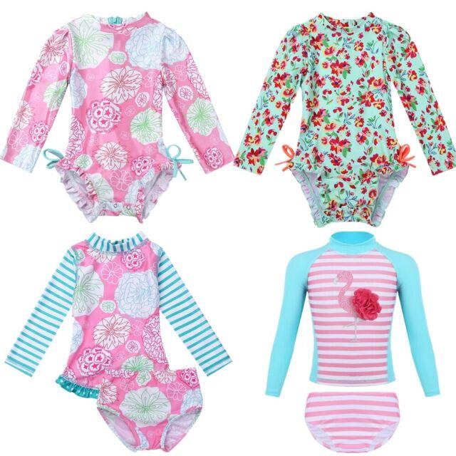 SwimZip Little Girl Rash Guard Swimwear Set Long Sleeve Zip UPF 50 Flower Power