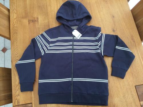 Next Boys Navy Blue Striped Zipped 100/% Cotton Hoody BNWT