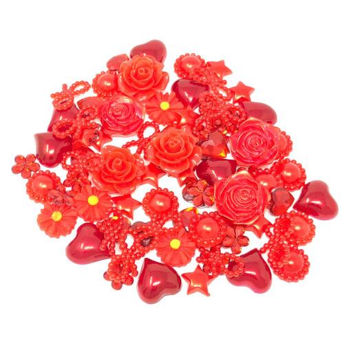 80 Mix Red Shabby Chic Resin Flatbacks Craft Cardmaking Embellishments