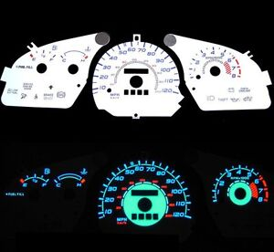 NEW-97-02-Ford-Escort-w-Tach-Blue-Indiglo-Glow-White-Gauges-97-98-99-00-01-02