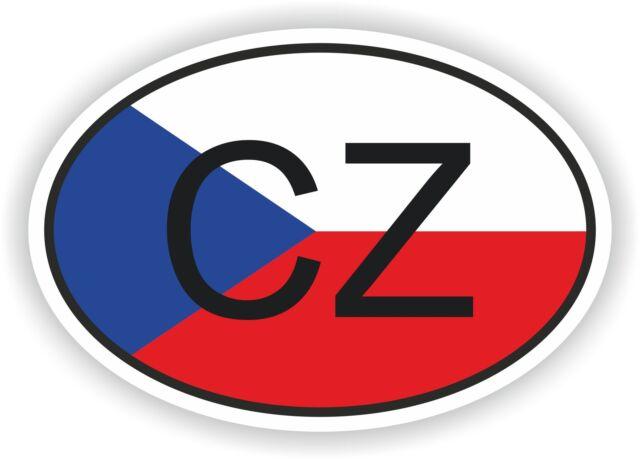 CZ CZECH REPUBLIC COUNTRY CODE OVAL WITH FLAG STICKER bumper decal car helmet
