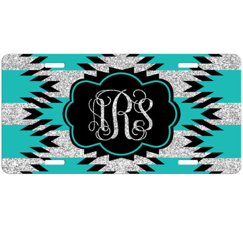 Teal Aztec Glitter Personalized Monogrammed License Plate Car Tag Initials