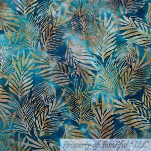 BonEful-FABRIC-FQ-Cotton-Quilt-Blue-Teal-Green-BATIK-Palm-Tree-Leaf-Island-Beach