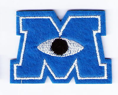 Blue MONSTERS INC M Logo Mike ONE EYE Embroidered Woven Iron On Patch