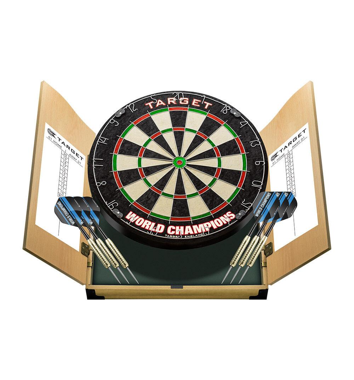 Target - World Champions Home Cabinet Dartcenter Set Dartboard (Steel-Dart) NEU