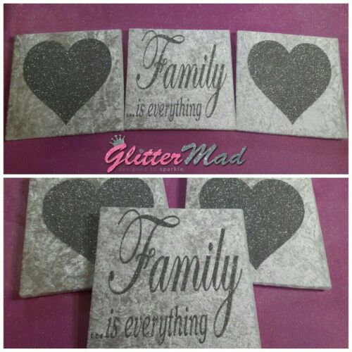 White /& Silver Glitter hearts family Wall Art Pictures Truely Sparkles canvas