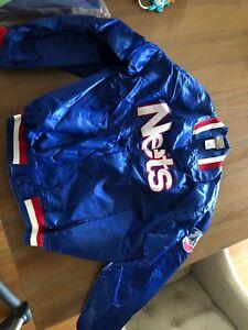 b8da87509 RARE Vintage Hardwood Classics New Jersey Nets Satin NBA Jacket Sz ...