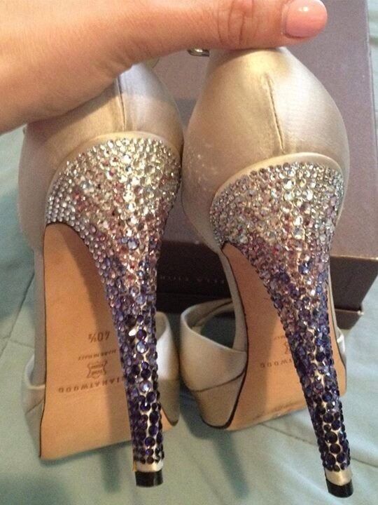 Brian Atwood Satin Heels With Rhinestones 40.5 NEW