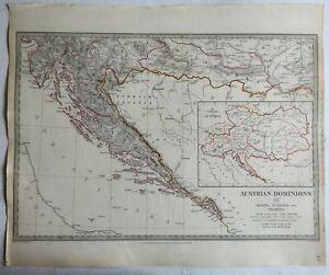 Austrian-Empire-Croatia-Dalmatia-Slavonia-c-1840-SDUK-detailed-antique-map