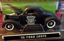 MAISTO 36 1936 FORD COUPE OUTLAWS RAT ROD CUSTOM STYLE FLAT BLACK GARAGE CAR