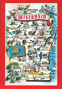 Milwaukee State Map.Wisconsin State Map Madison Milwaukee Green Bay Marinette Flag