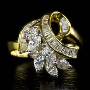 Vintage-1-50ct-Marquise-Diamond-Baguette-Cocktail-Ring-14K-Yellow-Gold-Over