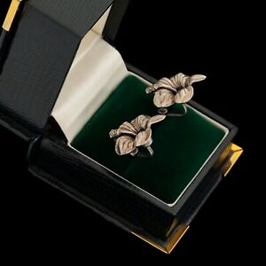 Antique-Vintage-Art-Deco-Sterling-Silver-Hibiscus-Flower-Floral-Cluster-Earrings
