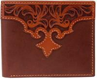 3d Western Mens Wallet Bifold Leather Tooled Floral Overlay Tan W997