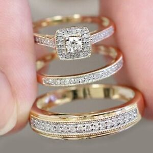 14K-Yellow-Gold-Over-Diamond-Wedding-Bridal-Engagement-Ring-His-Her-Trio-Set