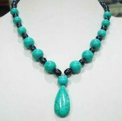 """7-8mm Black Tahitian Pearl&Turquoise Necklace 18"""""""